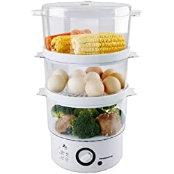 Ovente 3-Tier Electric Steamer for Vegetables and Food with Timer, 7.5-Quart, 400-Watts, Auto Shut-Off Feature, White (FS53W)