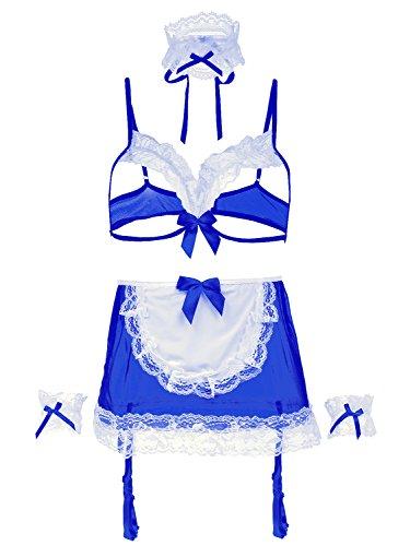 Amoretu Womens Lingerie French Maid Costume Bra (Halloween Lingerie)