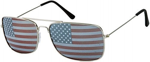 Square Silver USA Flag Aviator - Usa Sunglasses Aviator
