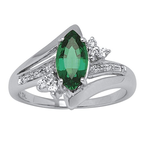 Genuine Marquise Emerald Ring (Marquise-Cut Green LabCreated Emerald Platinum over .925 Sterling Silver Ring Size 10)