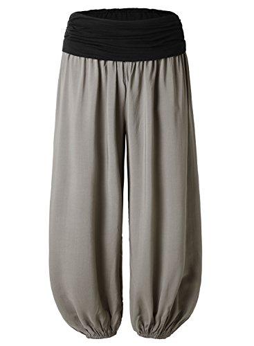 BAISHENGGT Women's Floral Print Elastic Waist Harem Pants X-Large Solid-Grey