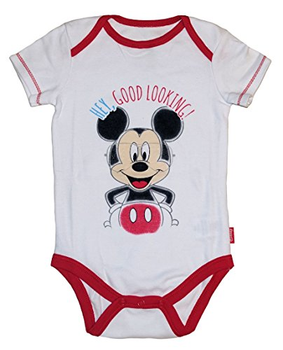 Disney Mickey & Minnie Mouse Baby Boys & Girls Bodysuit Dress Up Outfit (6-9 Months, White Mickey) -