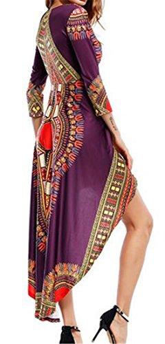 Cromoncent Ad Abito Dashiki Africano Stampa Alta Womens Bohemien Maniche Bassa Lunghe Viola A 8dUqF8