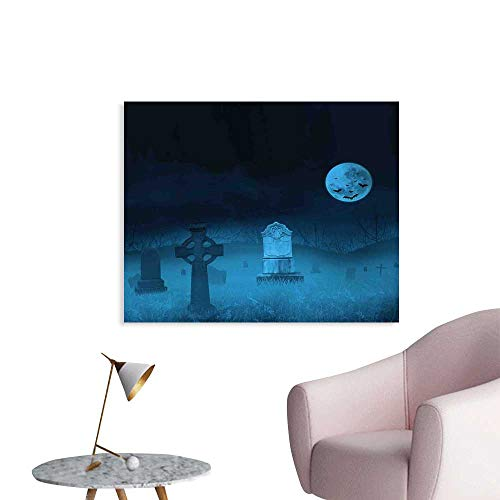 J Chief Sky Gothic Wall Paintings Ghostly Graveyard Illustration Horror Halloween Dead Danger Theme Full Moon Bat Mystery Print On Canvas for Wall Decor W28 xL20 -