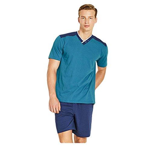 Pantalone N25655 Scollo Ragno Pigiama Maniche Cotone V Mezze Corto Uomo xww14UqBH