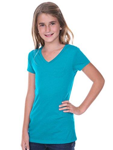 Kavio! Big Girls 7-16 Sheer Jersey V Neck Penny Pocket Short Sleeve