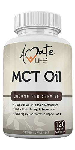 Amate Pure MCT Oil 3000 mg - Metabolism & Ketone - Energy Healthy Mental Focus Dietary Supplement – & in USA