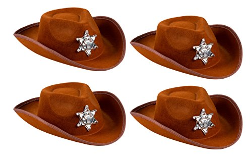 Cowboy Sheriff's Hat Kids - 4-Pack Novelty Children Cowboy Western Hats Badge Birthdays, Party Favors, Brown