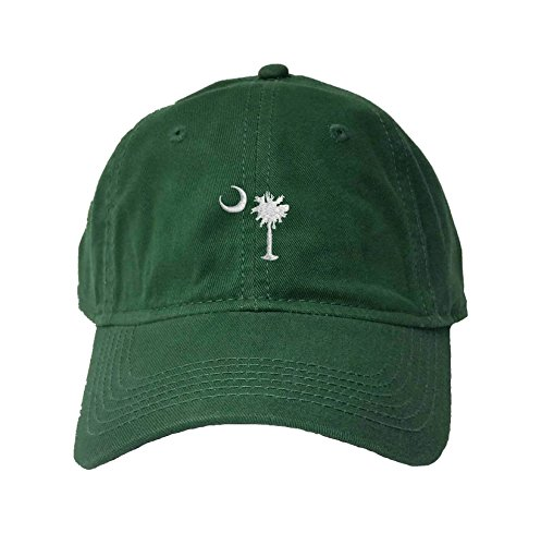 (Adjustable Dark Green Adult South Carolina Flag Embroidered Deluxe Dad Hat)