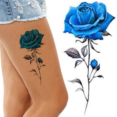 Black and Lotus Temporary Tattoos for Women Flower Big and Small Roses Adult Temp Tattoo on Transfer Paper (Blue Rose) ()