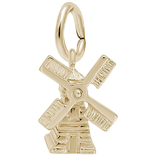 Windmill Charm In 14k Yellow Gold, Charms for Bracelets and Necklaces
