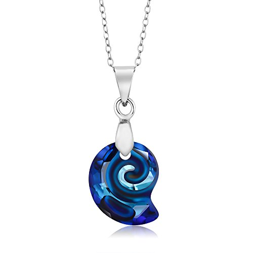 Bermuda Blue Simulated Shell Pendant Necklace Made with Swarovski Crystals