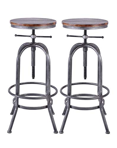 LOKKHAN Industrial Bar Stool-Vintage Adjustable Swivel Metal Wood Stool-Rustic Farmhouse Bar Stool-Cast Iron-26-32.3 Inch Kitchen Counter Height-Bar Height (Silver(2pcs))