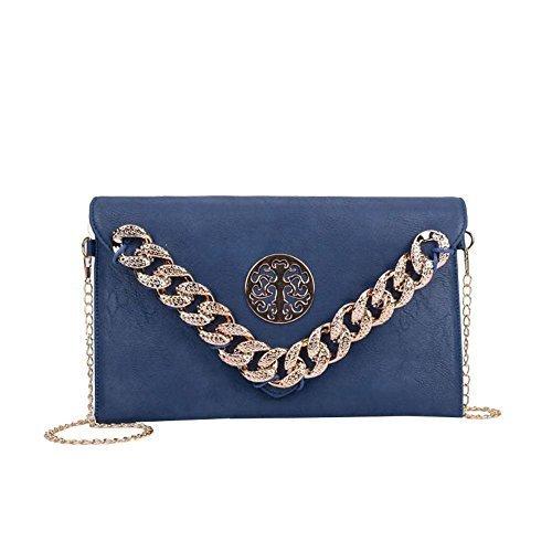 Haute Trim Badge Diva Chain Bag Metallic Clutch for Blue Yellow Earth Ladies qrxBqFwAp