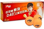 DHS D40+ 3 Star Orange Table Tennis Ball Perfectly Round Ping Pong Ball High Bouncy Tough Decent Consistent Sp