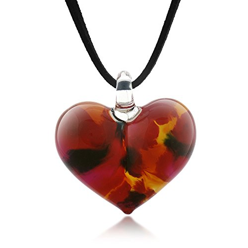 (Hand Blown Venetian Murano Glass Wild Flower Red Yellow Black Heart Shaped Necklace, 18-20 inches)