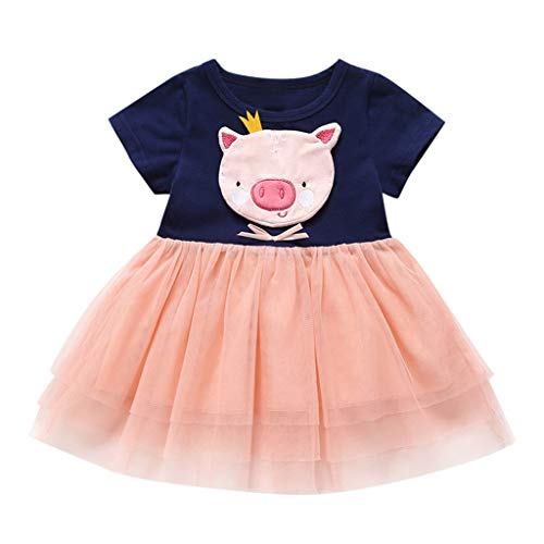 Toddler Skirt Clothes, Baby Cartoon Pig Embroidery Tulle Patchwork Lace Stitching Dress(6 Months-5 Years) SIN vimklo Navy Blue