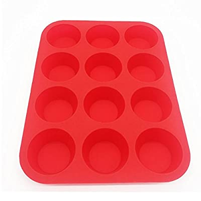 Anitiz Silicone Muffin Pan, 12 Cup Non-Stick Cupcake Baking Pans – Safe, Reusable, BPA-Free Baker's Tray