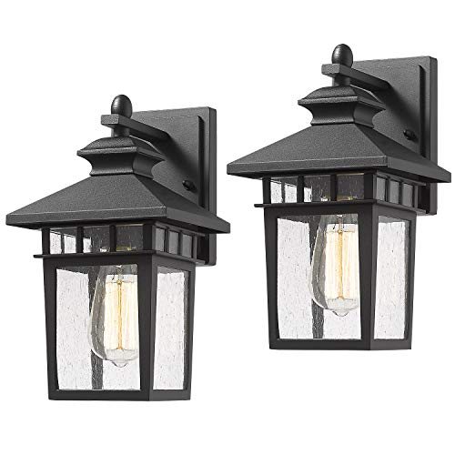 Outdoor Wall Light Sconce, Beionxii 2-Pack Exterior Wall Mount Lantern, Matte Black Finish with Seeded Glass Panel Porch Lighting Fixtures - Upgrade (Lighting Sconce Fixtures Outdoor)