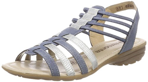 Bleu Sandales R3630 Remonte Cheville adria Bride silber Femme P4X77nqW