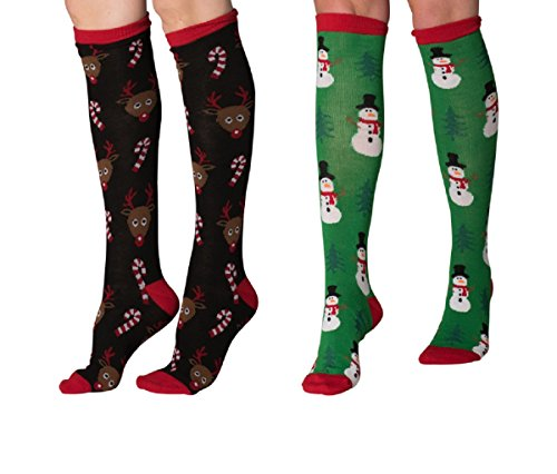 Mens & Womens Fun Novelty Holiday Halloween Xmas Socks- One Size Fits Most (One Size Fits Most (Shoe-4-10), Christmas 2PK Knee Highs-Reindeer Candy Canes/Green Snowman)