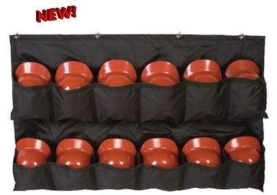 Baseball/Softball Helmet Rack Travelling Dugout Bag with Fence Hooks (12 Mesh Youth/Adult Batting/Catchers Helmets, Folds for Carrying)