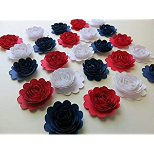 """24 Red White and Navy Blue Carnations, 1.5"""" Scalloped Paper Flower Roses, Patriotic USA Decorations 91"""