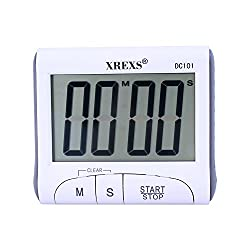 XREXS Large Display Countdown Up Timer Clock Digital Kitchen Timer Magnetic Loud Alarm Cooking Timer with Stand (White-Battery Included