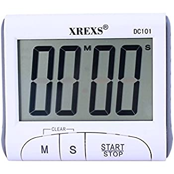 XREXS Large Display Countdown Up Timer Clock Digital Kitchen Timer Magnetic  Loud Alarm Cooking Timer With