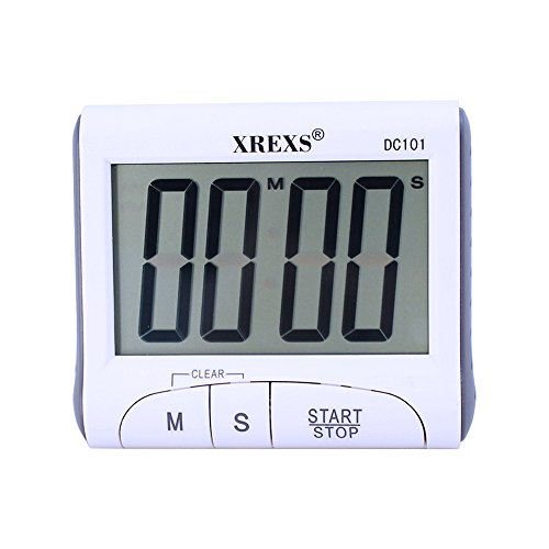 XREXS Digital Kitchen Timer Magnetic Countdown Up Cooking Timer Clock with Magnet Back and Clip, Loud Alarm, Large Display Minutes and Seconds Directly Input-White (2 Battery Included) (DC-DJSQ-101)
