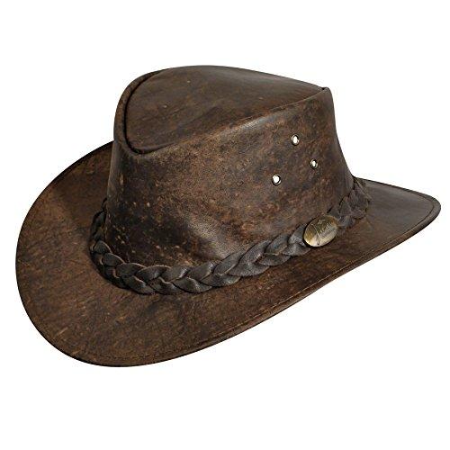 Jacaru Men's Gabba Stonewash Leather Hat Stonewash Large