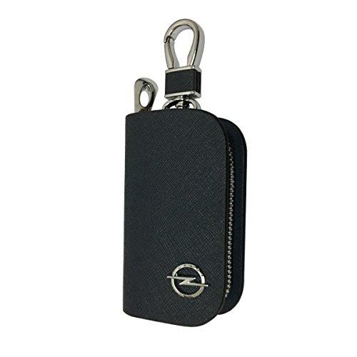 New 1pcs Mesh Black Leather Car Key Wallet Zipper Case Keychain Coin Holder Metal Hook Bag Collection For Opel Car Vehicle Auto Lover