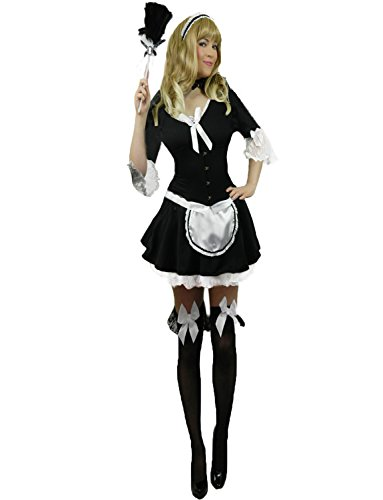 Yummy Bee Womens Victorian French Maid Costume + Feather Duster Size 4 - 6
