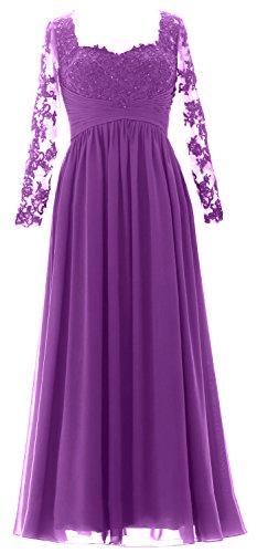 Amethyst Evening Women Mother Sleeves Dress the of Long Maxi Formal Bride Gown MACloth Z7dwxqEOE