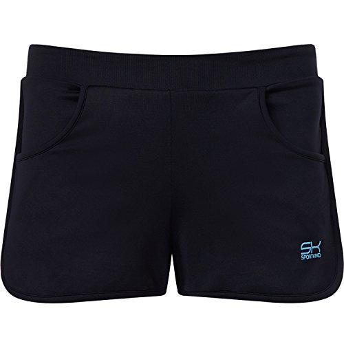 Sportkind Mädchen und Damen 2-in-1 Tennis / Volleyball / Sport Shorts mit Innenhose in schwarz Gr. M