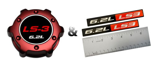 Ls Crate Engine (COMBO - LS3 6.2L RED OIL CAP in Billet Aluminum + 2 x (pair/set) RED BLACK 6.2L Liter LS3 Real Aluminum Engine Hood Emblem Badge Nameplate Crate for 08-09 Chevy)