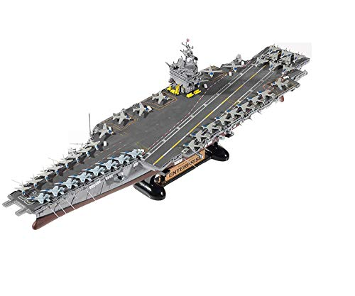 (Academy 14400 1:600 US Navy USS Enterprise CVN-65 Plamodel Plastic Hobby Model Aircraft Carrier Kit Toy with Display Stand (Paint Not Included))