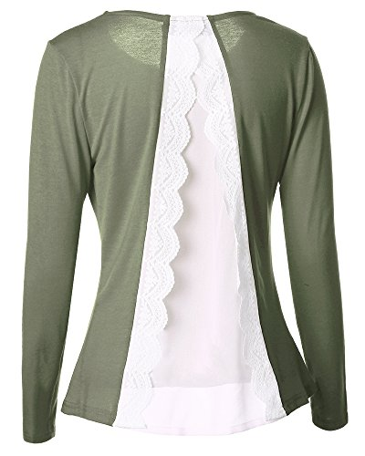 Camiseta de Manga Larga Mujer Cuello Redondo Blusa Tops Ejercito Verde