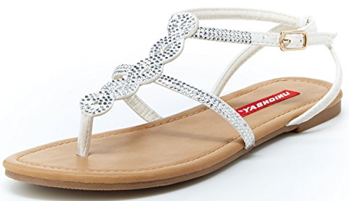Unionbay Women's Twist-U Beaded Rhinestone Crystal Embellished Flat Sandal (6 B(M) US, White)