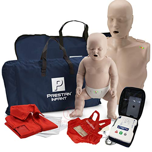 Adult and Infant CPR Manikin with Feedback Prestan AED UltraTrainer, and MCR Accessories
