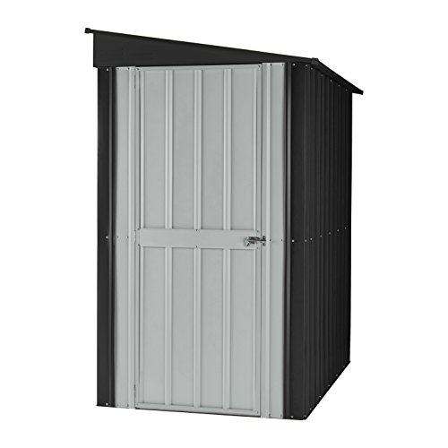 Globel 4x8 Lean-To Steel Storage Shed Slate Grey and Aluminum White by Globel