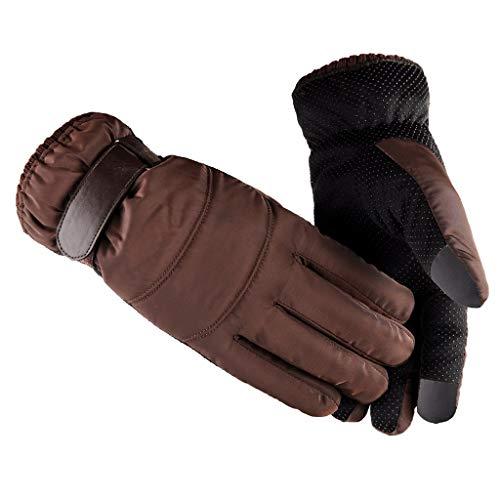 - Winter Gloves Touchscreen Outdoor Wind Proof Glove Ski Riding Warm Mountain Climbing Outdoor Mitten (Brown)