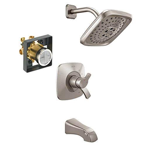 Delta KTS17452-R-SS Tesla 17 Series Tub/Shower Kit with Rough-in, Brilliance Stainless ()