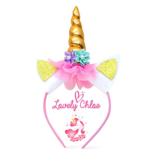 Lovely Chloe Unicorn Headband with Gold Horn, Flower Decoration with Ear. Handmade.Perfect for Girl, Birthday Party, Baby Shower, Halloween, Cosplay Costumes, Photo Props, Luxury Outfit (1 Pack) ()
