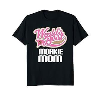 Mens Worlds Best Morkie Mom T-shirt 2XL Black