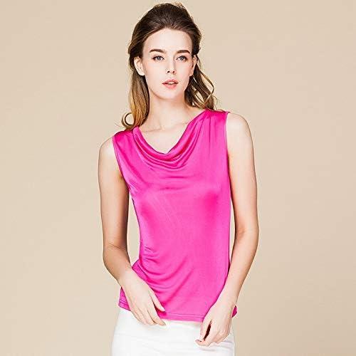 HANGON Estate Donna 100% Vera Seta Canotta Casual Maglia Camicie Confortevole Traspirante Sciolto t-Shirt Nero