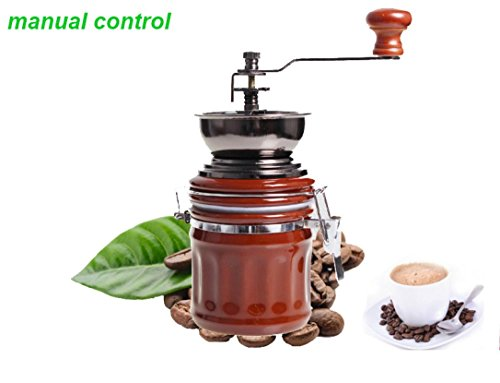 Fheaven Stainless Steel Vintage Ceramic Manual Coffee Beans Mill Nut Spice Hand Grinder (Washers Adjusting Nut)