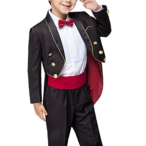 Boyland Boys Dress Suit Shawl Collar Tuxedo with Tails 4 Piece Formal Suit Black/White with Gold Stripe - Kid Tails