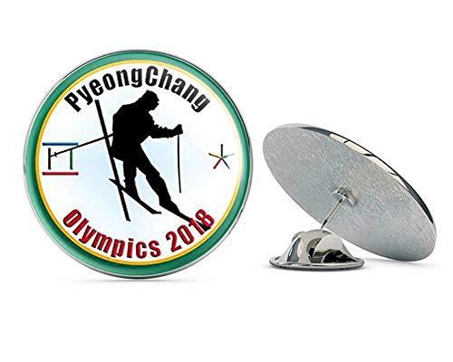 """NYC Jewelers Round PyeongChang Olympics Alpine Skiing (Jumper ski Skier Logo) Metal 0.75"""" Lapel Hat Pin Tie Tack Pinback"""