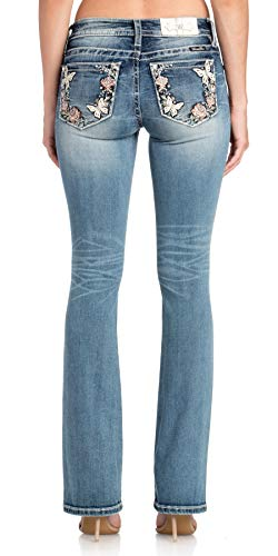 Miss Me Women's Butterfly and Rose Border Mid-Rise Boot Cut Jeans (Medium Blue, 32)